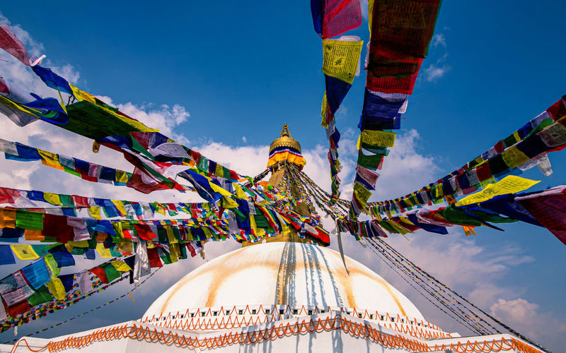 Beautiful view of baudha stupa at kathmanddu, nepal.