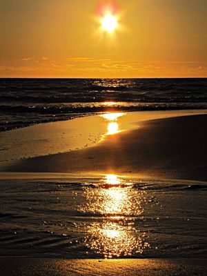 Nordsee Sonnenuntergang Nordsee Sun Down Watter Reflection Ocean View