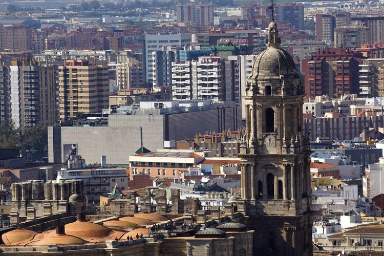 High angle view of buildings in malaga city
