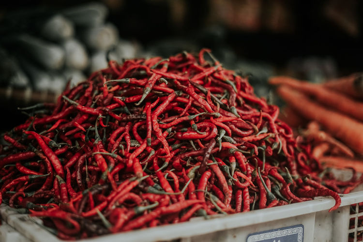 Red chili peppers for sale in market