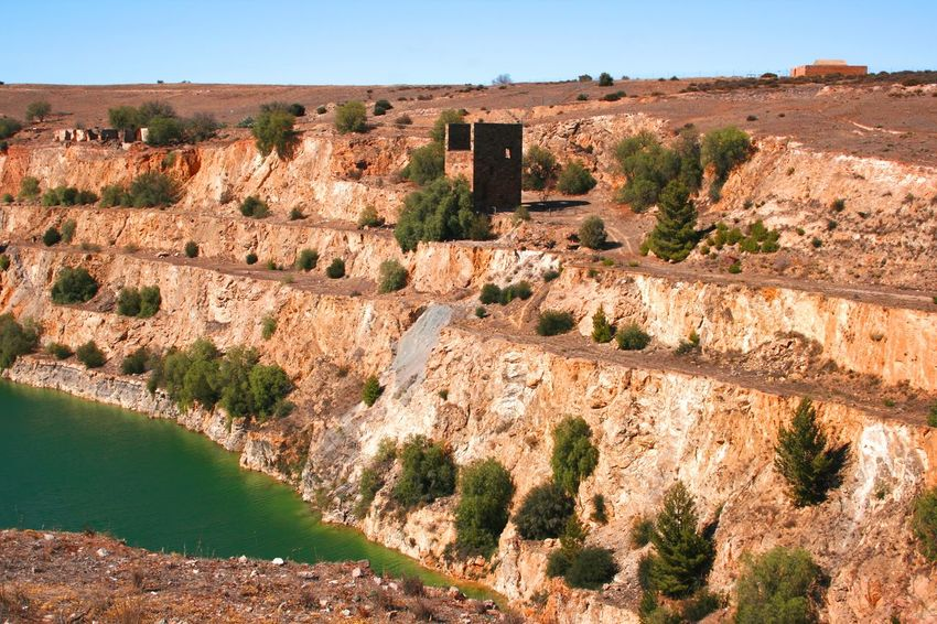 Abandoned Open Cut Copper Mine in Burra, South Australia Abandoned Places Architecture Australian Landscape Burra, Australia Copper Mine Day Diggings Flooded Mine Heritage Site History Lake Landscape Mining Industry Nature No People Open Cast Mining Outdoors Quarry Sky