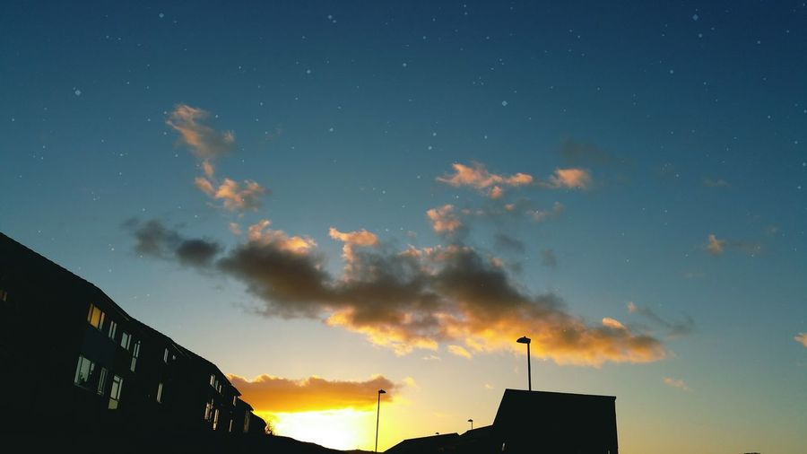 Cloud - Sky Silhouette Sky Sunset No People Outdoors Built Structure Architecture Night Fake Stars Fantasy Dreamlike Street Wales Wales UK Newtown Powys Houses Buildings Architecture Stars Clouds Golden Hour Surreal Sunlight Cloud