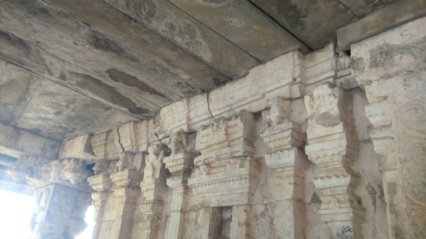 Temple Ruins: Built long ago by King Krishna Dev Rai. Ancient Archaeology Architectural Column Architecture Building Built Structure Ceiling History Low Angle View Old Place Of Worship Religion Stone Wall The Past Travel Destinations Wall - Building Feature