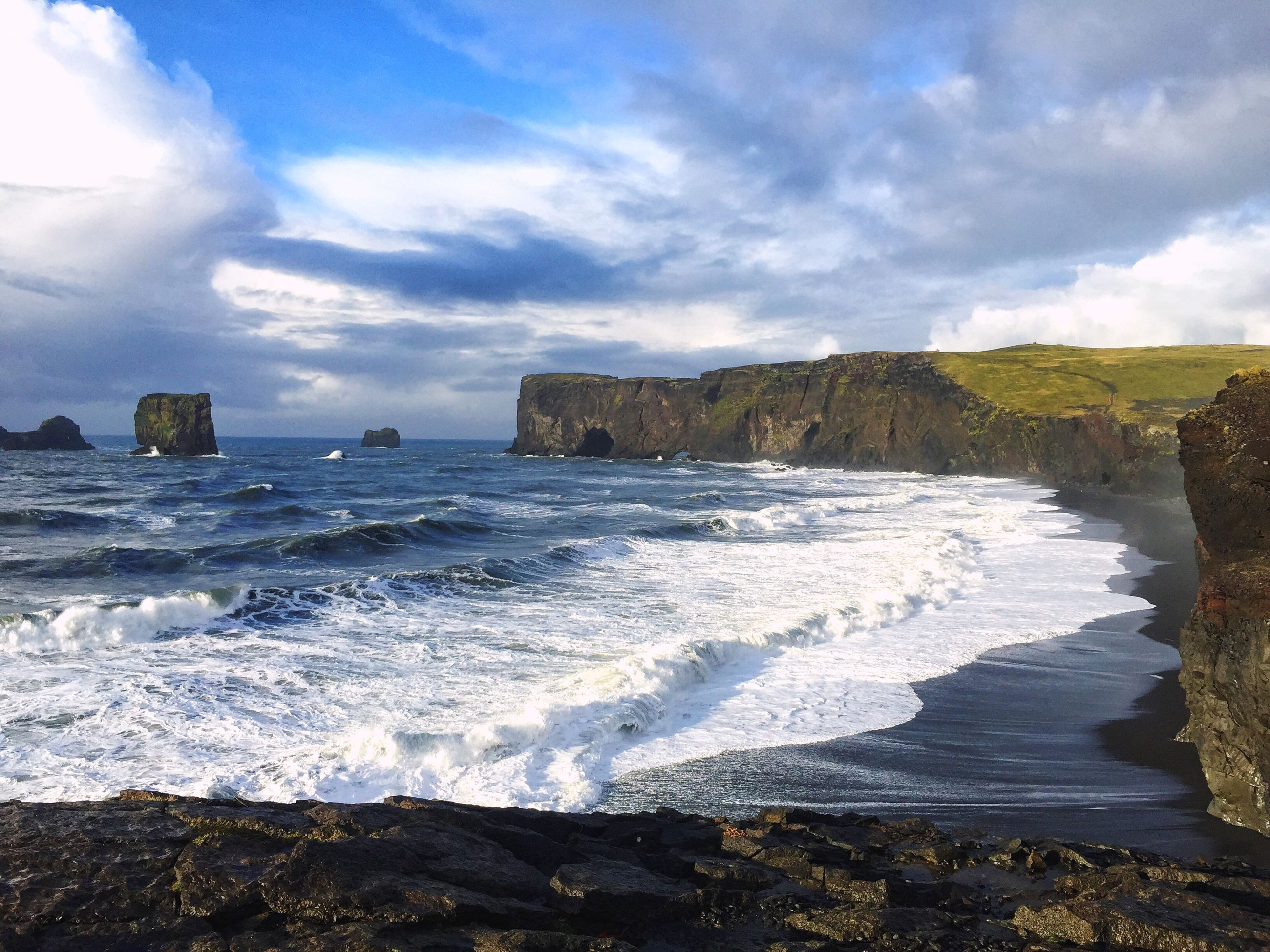 water, sea, sky, surf, wave, scenics, beauty in nature, rock - object, beach, horizon over water, cloud - sky, shore, nature, motion, tranquil scene, rock formation, tranquility, cloudy, coastline, power in nature