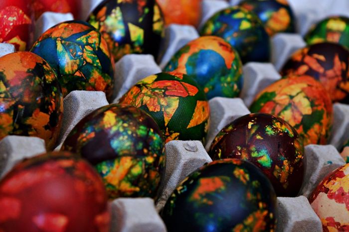 Easter Easter Eggs Eastern Europe Tradition Carton Of Eggs Full Frame Happy Colors Multi Colored