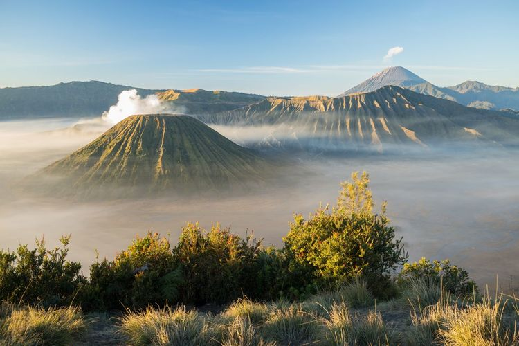 Scenic view of volcanic mountain against sky at mount bromo, java, indonesia.