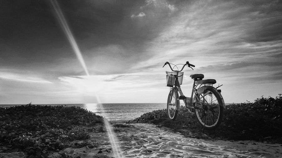 Bicycle Beach Nature Sea Sky Water Horizon Over Water Mode Of Transport Black And White Blackandwhite Photography Amazing Relax Landscape Light And Shadow Lifestyles