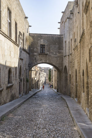 Ippoton, Street of the Knights, Rhodes, Greece Rhodes Greece Arch Architecture Building Exterior Built Structure Cobbled Street Day History Ippoton Street Old Town, Rhodes Outdoors Street Of The Knights