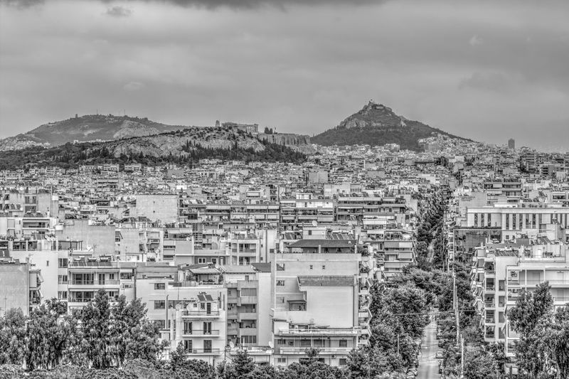 Cityscape from the Stavros Niarchos Foundation Cultural Center Athens City Athens, Greece Black & White City Cloud Cloudy GREECE ♥♥ Parthenon Acropolis Architecture Athens Black And White Blackandwhite Blackandwhite Photography Building Exterior Built Structure City Cityscape Cloud - Sky Day Greece Hill No People Outdoors Sky