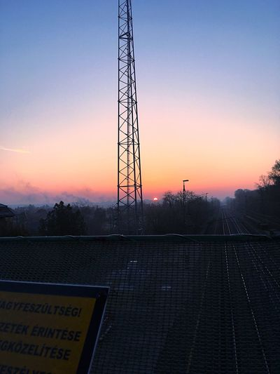 Morning Hello Sun Its Coming Winter Is Here Its Cold Outside Sky Orange Beautiful Sun Cold Winter ❄⛄ Railway Railway Station Tower Radiotower Freezing IPhoneography IPhone IPhone SE Abda Hungary
