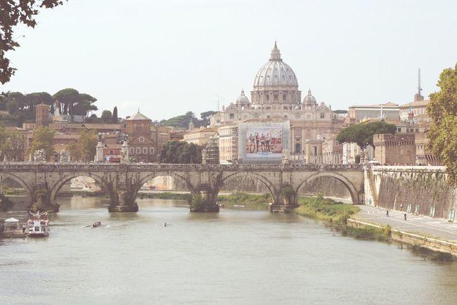 St. Peter Basilica and Tiber River Basilica Di San Pietro In Vaticano Tiber River Stone Bridge St Peters Basilica Rome