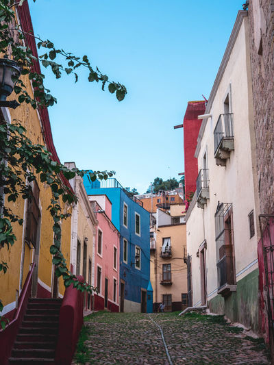 Architecture Blue Building Building Exterior Built Structure Charming Charming Houses City Clear Sky Colorful Day House Mexico Outdoors Residential Building Residential District Residential Structure Sky Street Streetphotography Sunlight Sunny Town Urban Urban Geometry