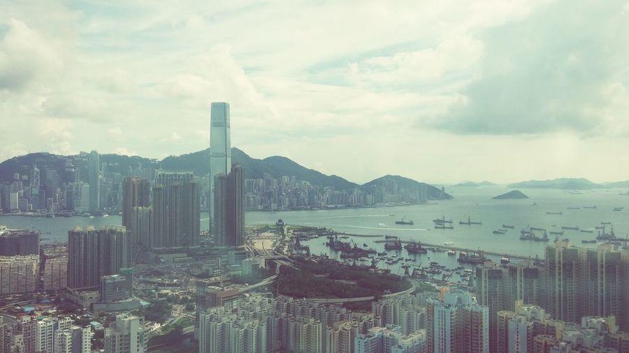 Cityscapes Cosmopolitan HongKong Skyscrapers High Angle View Hong Kong