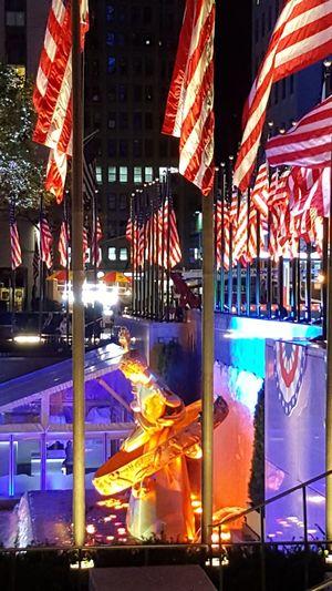 Rockefeller Center NYC Photography NYC Election 2016 American Flag Travel Destinations Building Exterior Illuminated City Night Rockefeller Plaza New York City