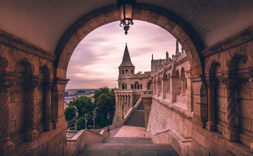 Architecture Travel Destinations Tourism Arch History Travel Vacations City Built Structure Cityscape No People Sky Sunrise Sunset Building Exterior Cloud - Sky Long Exposure Orange Colorful Halászbástya Budapest Hungary