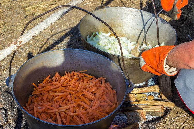 High angle view of man preparing food