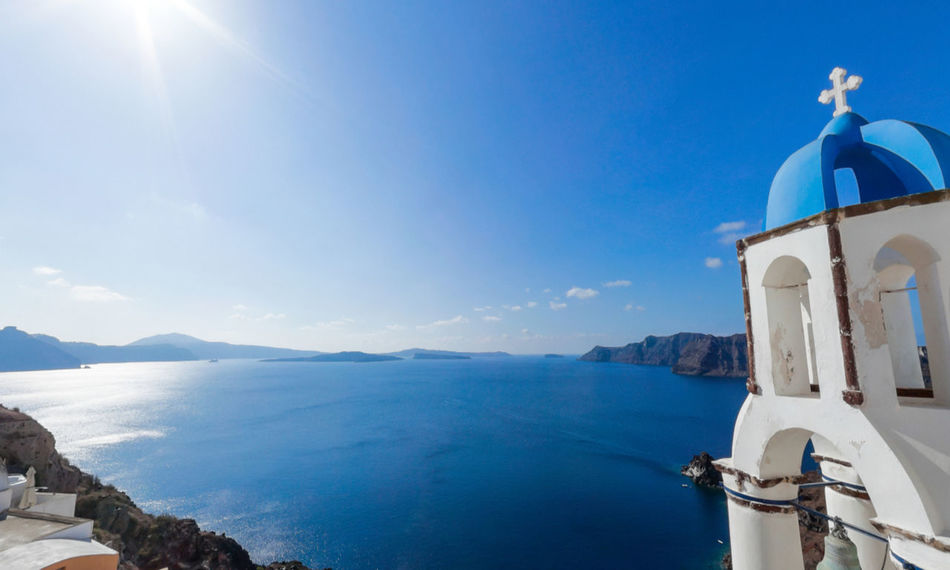 Architecture Beauty In Nature Blue Building Exterior Built Structure Day Dome GREECE ♥♥ Mountain Nature Nautical Vessel No People Outdoors Place Of Worship Religion Satonrini Scenics Sea Sky Spirituality Sunlight Tranquility Travel Destinations Water Whitewashed