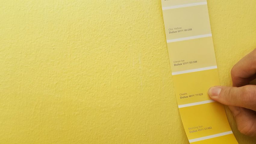 Human Hand Compare Contrast Color  yellow Human Finger One Person Holding Color Colorful Yellow Color Yellow Background Wall Wall - Building Feature Fandeck DULUX DuluxVisualizerContest DuluxVizualizer Paint Painting Wall Painting Wall Paintings Decoration Design Pallette Colour Architecture