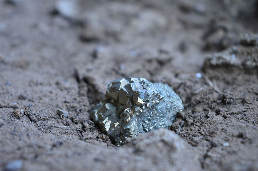 Beauty In Nature Close-up Day Fool's Gold Ground Minerals Nature Pyrite Selective Focus Surface Level