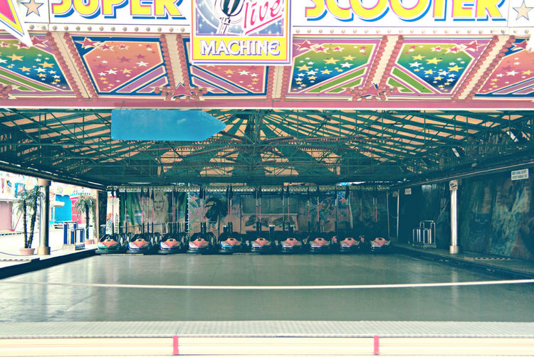 Empty bumper cars in amusement park