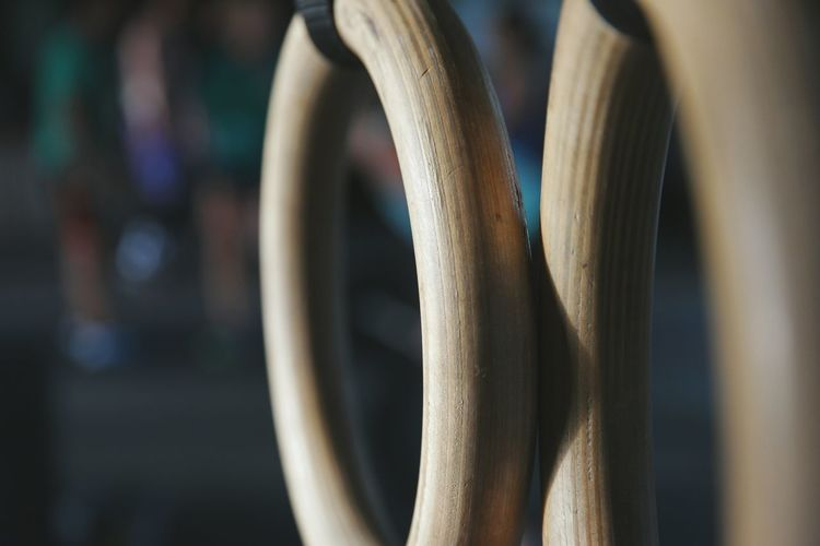 Workout equipment in Chelan, WA. Close-up Focus On Foreground No People Working Out Workout Rings Gymnastics Crossfit Strength Strength Training Exercise Exercising Wood Wooden Rings Gym Business Health Healthy Lifestyle Wellness Inspirational Workout Equipment Fitness Fitness Training Resist