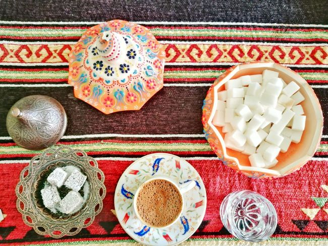Having Turkish Traditional Coffee in Kaymakli Underground City, Cappadocia, Turkey 🍵🍵 Colourful Ornament Handmade Design Candy Lahat Lokum Turkish Delight Coffee Culture Food Morning Coffee Morning Decoration Delicious Dessert Ottoman Empire Red Sweet Tradition Turkish Dessert Sugar Sweet Turkish Coffee Turkey Cappadocia Türk Kahvesi High Angle View Tablecloth