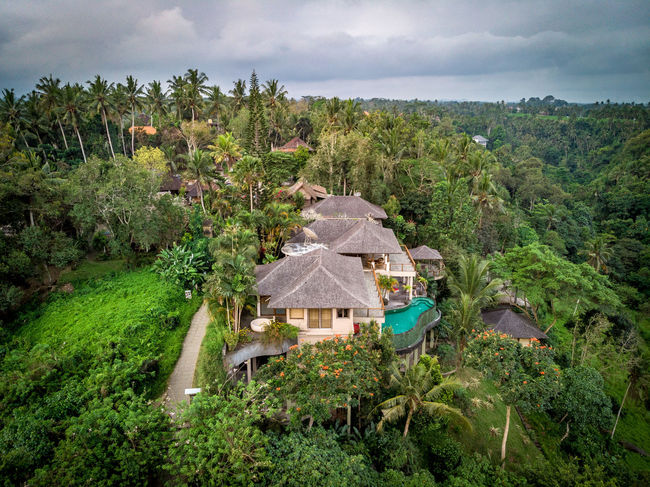Architecture Beauty In Nature Building Building Exterior Built Structure Cloud - Sky Day Environment Green Color Growth High Angle View House Land Landscape Nature No People Outdoors Plant Scenics - Nature Sky Swimming Pool Tree