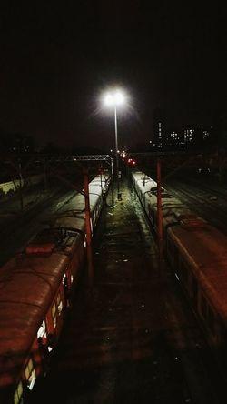 Rail yard at night