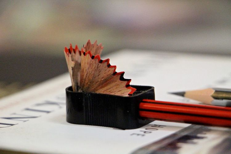 Close-up of pencil in sharpener