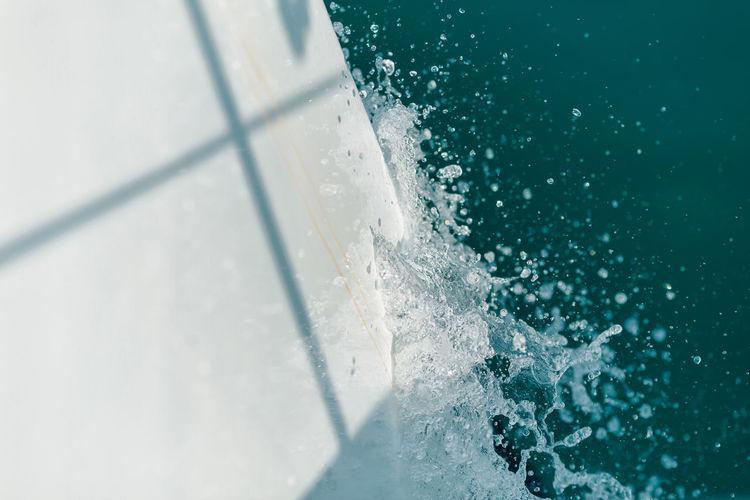 High angle view of ice over sea