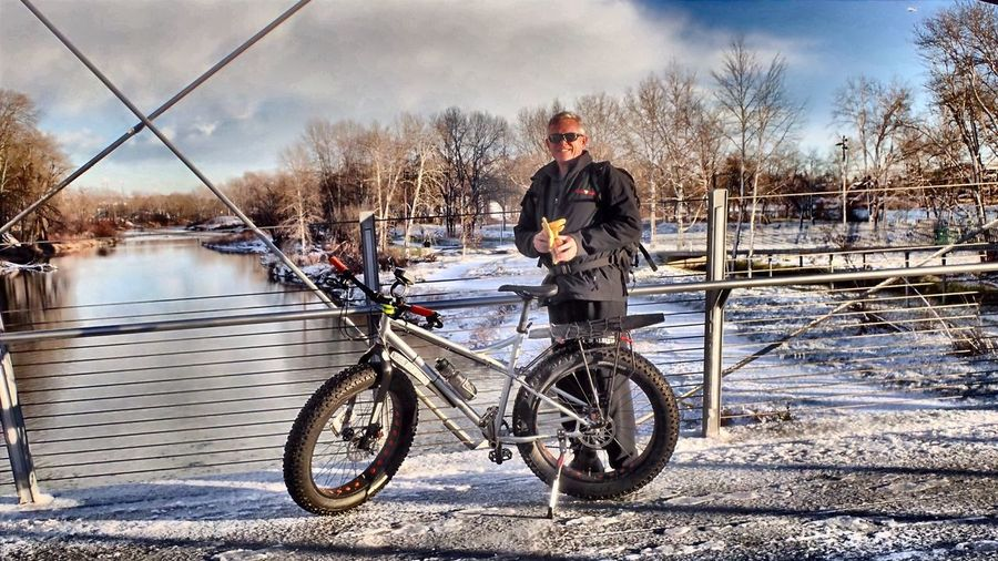 Perfect Match Self-portrait with my Bike and a November Day. Perfect. Hi! That's Me Snow ❄ Bow River Cool Clear Water Bridges My Bicycle Fat Tire