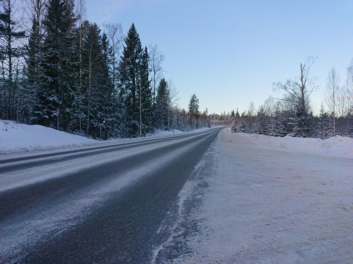 Empty road amidst snow covered trees against sky