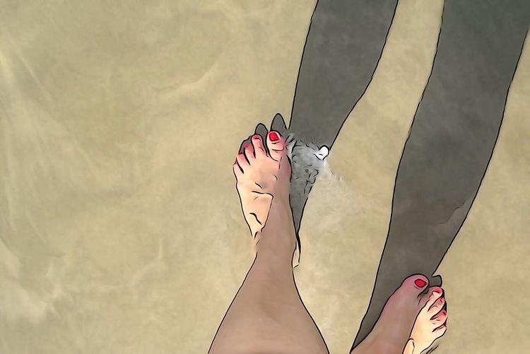 Steping on a sand beach