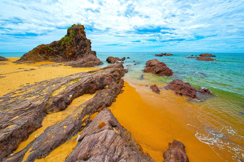 Lo Dieu Beach, Binh Dinh, Vietnam Lộ Diêu Beach Vietnam Beach Beauty In Nature Binh Dinh Cloud - Sky Day Horizon Over Water Idyllic Land Nature No People Non-urban Scene Outdoors Rock Rock - Object Rock Formation Scenics - Nature Sea Sky Solid Tranquil Scene Tranquility Water