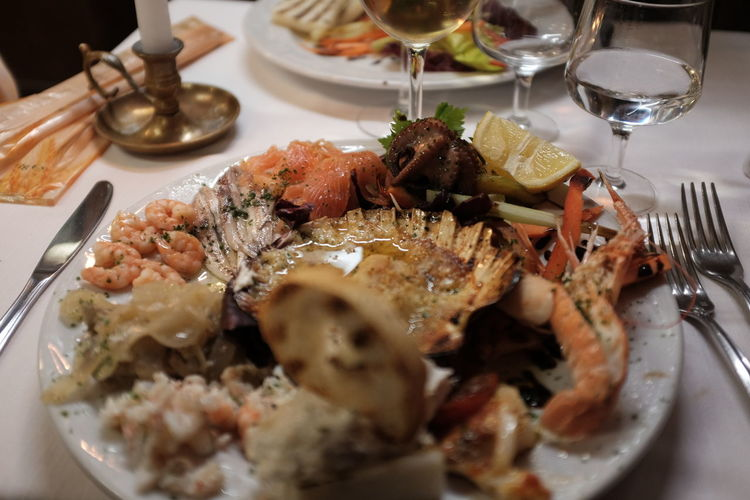 High angle view of seafood served in plate