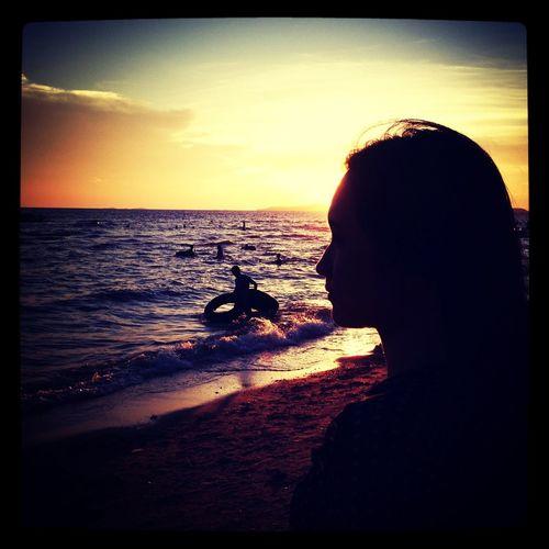 My girl at pattaya beach and her sunset.