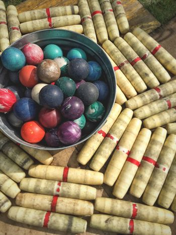 pinned down High Angle View Variation Easter Egg Multi Colored Food Large Group Of Objects Easter Day Indoors  No People Healthy Eating Close-up Freshness Bowling Candlestick Pins Candlepin Bowling Brimfield