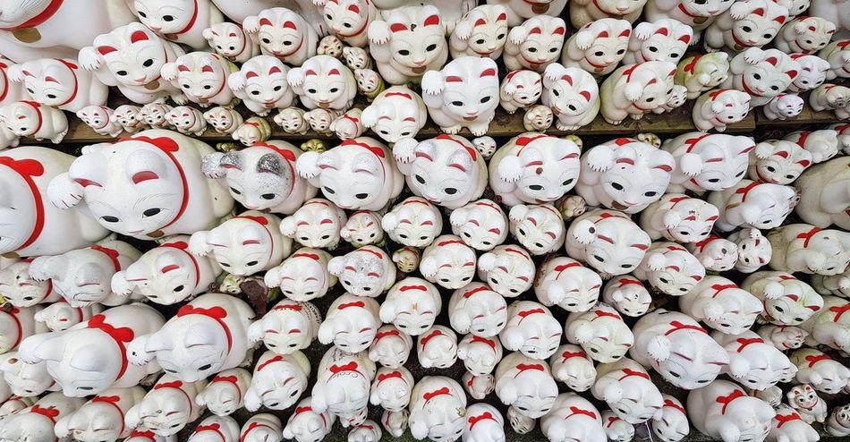 Japanese Temple Maneki-neko Abundance Cat Doll Cats Large Group Of Objects Manekineko Mobile Photography No People Top View
