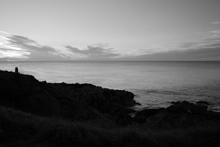 Together At Sunset Sea Water Sky Scenics - Nature Horizon Horizon Over Water Tranquility Tranquil Scene Cloud - Sky Beauty In Nature Land Coastline Silhouette Couple Blackandwhite Black And White