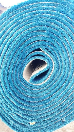 Carpet Blue Roll Tube Cylinder Cyan Rug Trade REAM Reem Decor Decoration Fuzzy Soft Scratchy Itchy Abrasive Rough Cozy Calming Calm Peace Work Indoors  No People