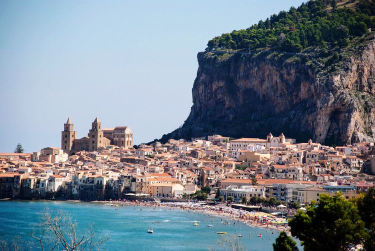 Cefalu  Sicily Sicilia Italy Italian Town Architecture Building Exterior Built Structure Water City Sky Building Nature Sea No People Travel Destinations Mountain Cityscape Outdoors
