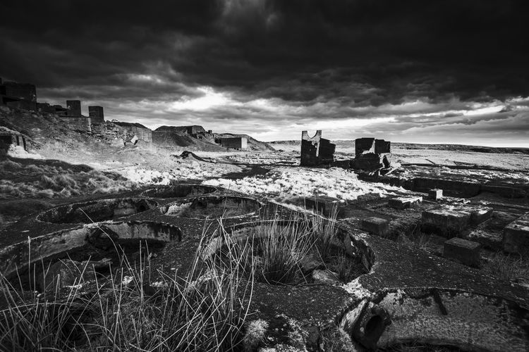 Ruins of Abandoned Quarry at Titterstone Clee Hill Clee Hill Dramatic Sky Titterstone Abandoned Architecture Blackandwhite Building Building Exterior Built Structure Cloud - Sky Clouds Damaged Day Deterioration History Land Nature No People Old Old Ruin Outdoors Quarry Ruined Sky The Past