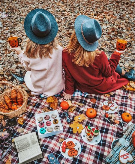 Girls on picnic EyeEm Selects Eyem Gallery EyeEm Nature Lover Instameet Girl Autumn Autumn colors Autumn Leafs EyeEmNewHere EyeEm Best Shots Autumn🍁🍁🍁 Photography Picnic High Angle View Clothing Hat Textile Day Multi Colored No People Outdoors Craft Still Life