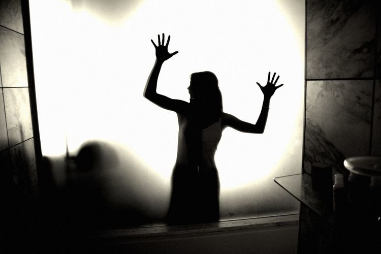 Woman Girl Scary Walkind Dead Terror Black And White Night Zombie Art Zombie Chinese Shadow Window Bathroom Shadow Three Quarter Length Hand Women Silhouette Standing Lifestyles Human Arm Indoors  Real People Arms Raised One Person EyeEmNewHere EyeEmNewHere