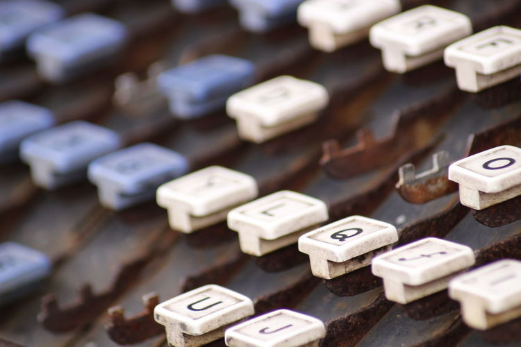 Old Typewriter's keyboard Abundance Alphabet Backgrounds Broken Close-up Collection Communication Differential Focus Focus On Foreground Full Frame Heap Ideas In A Row Keyboard Letter Man Made Object Missing No People Rustic Selective Focus Symbol Text Typewriter Variation Vintage