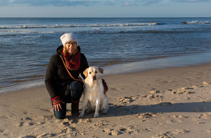 Irmi and me Beach Beach Photography Casual Clothing Dog Dog Love Domestic Animals Lifestyles Person Sand Sea Woman Woman And Dog