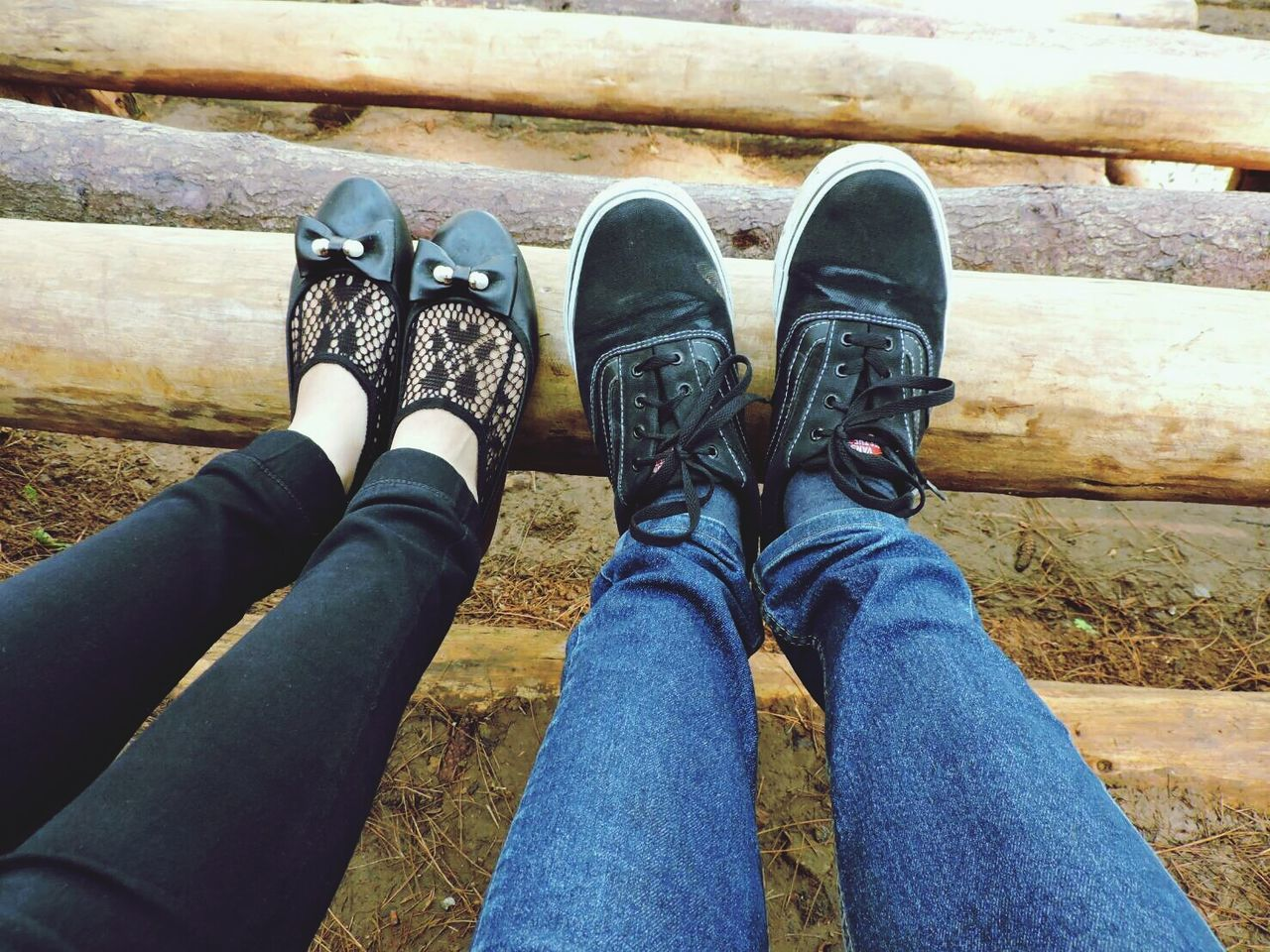 shoe, low section, human leg, real people, jeans, day, outdoors, human body part, togetherness, lifestyles, standing, men, people