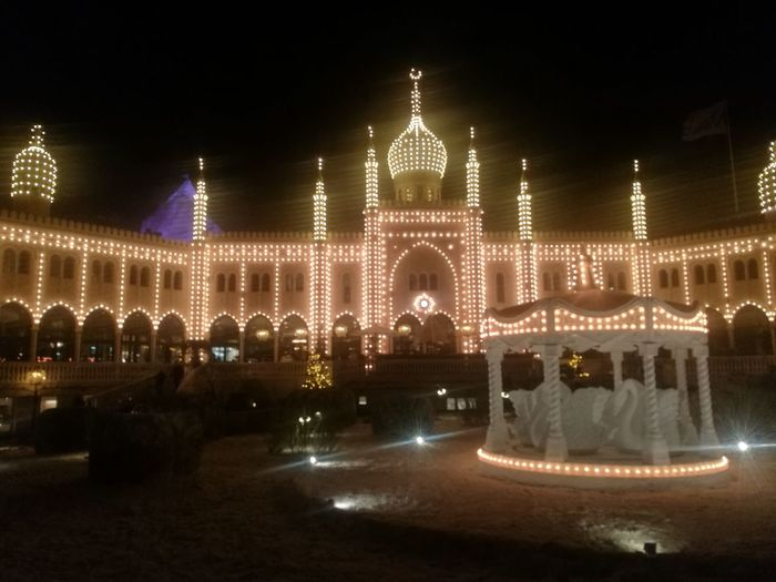 Tivoli Denmark Night Illuminated Celebration Outdoors Market Christmas Lights Architecture