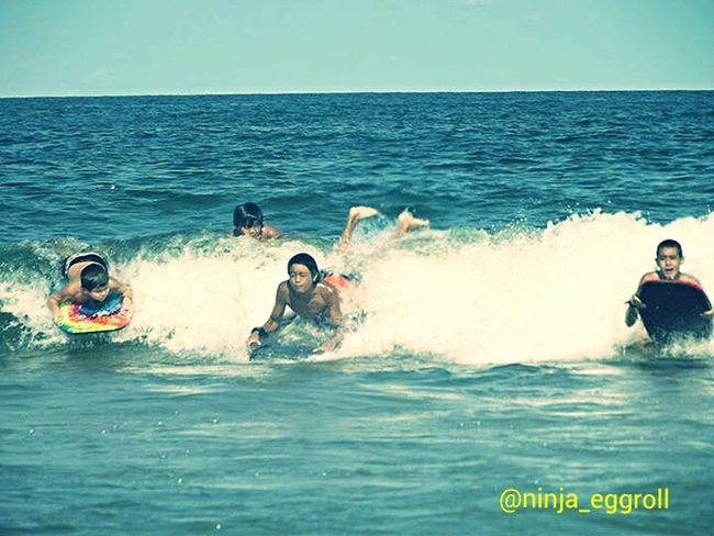 my nephews At The Beach body surfing Enjoying Summer Catching Waves