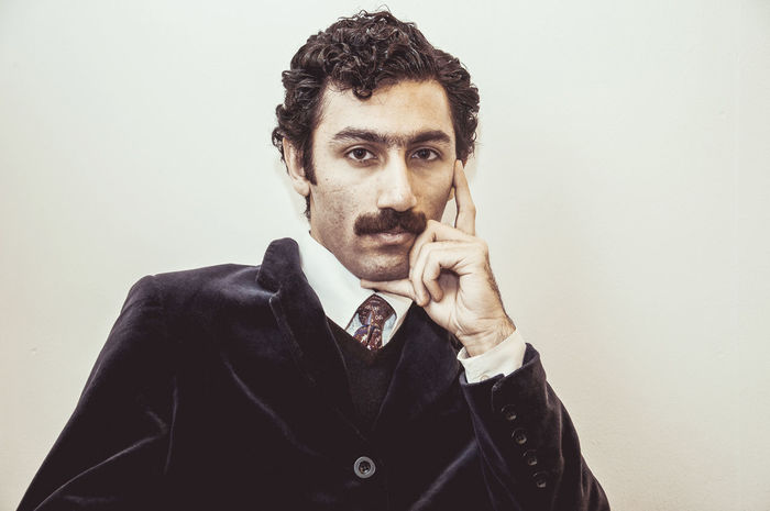 Man Movember Retro Suit Well Dressed Day Front View Hairstyle Handsome Headshot Indoors  Lifestyles Looking At Camera Mustache One Person Portrait Real People Retro Styled Suit Vintage White Background Young Adult Young Men